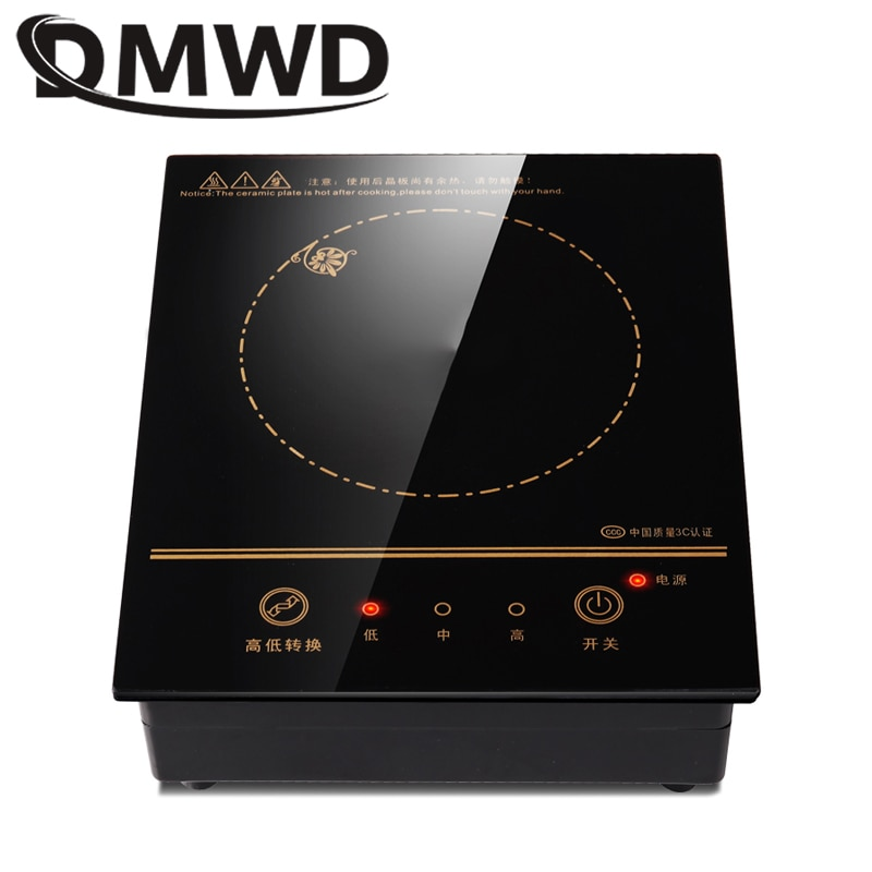 DMWD Mini cocina eléctrica de inducción magnética control de alambre incrustado Hotpot Hob quemador impermeable hot pot té caldera cocina vitrocerámica
