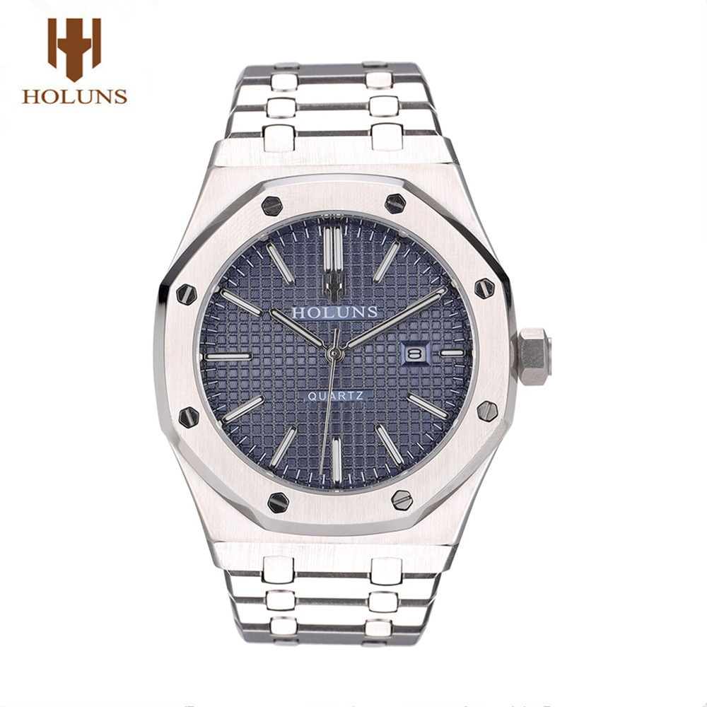 HOLUNS مشاهدة الرجال ساعة يابانية ساعات كوارتز الطلب الكبير كامل الفولاذ المقاوم للصدأ الياقوت مقاوم للماء مضيئة الكلاسيكية الأزرق ساعة اليد