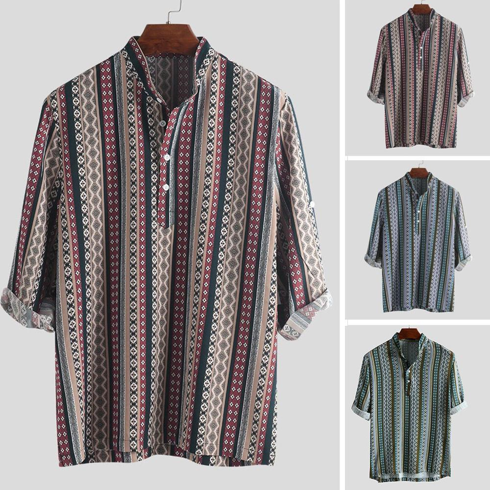 2019 nuevas camisas masculinas de talla grande para hombres patrón étnico impreso media manga Henley camisas blusa camisa a rayas camisa da uomo caldo