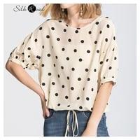 silviye polka dot printed silk medium sleeve t shirt womens silk small shirt half sleeve top loose 2020 summer new