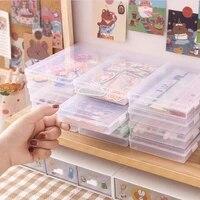 transparent desktop stationery organizer pencil box plastic washi tape stickers storage case office organizer table desk box 1pc
