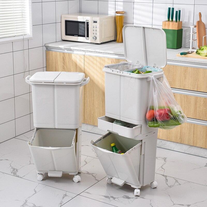 Lata de Lixo Reciclar Banheiro Cozinha Grande Cesta Criativa Lixeira Basura Cocina Plástico Bin Bw50lj