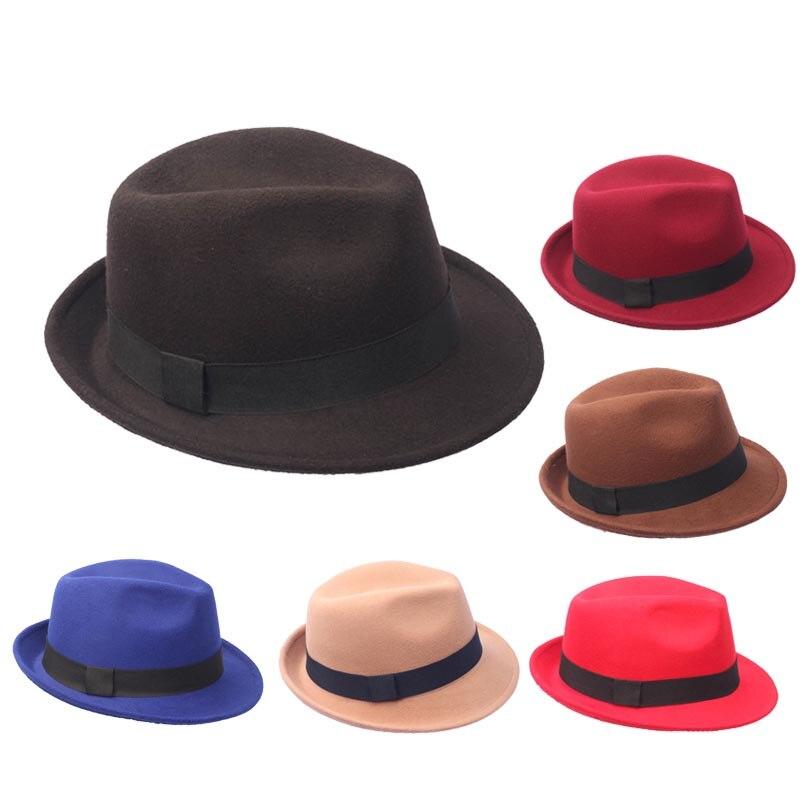Vintage Woolen Fedora Hats Felt Boat Brim Top Hat for Men Women Church Party