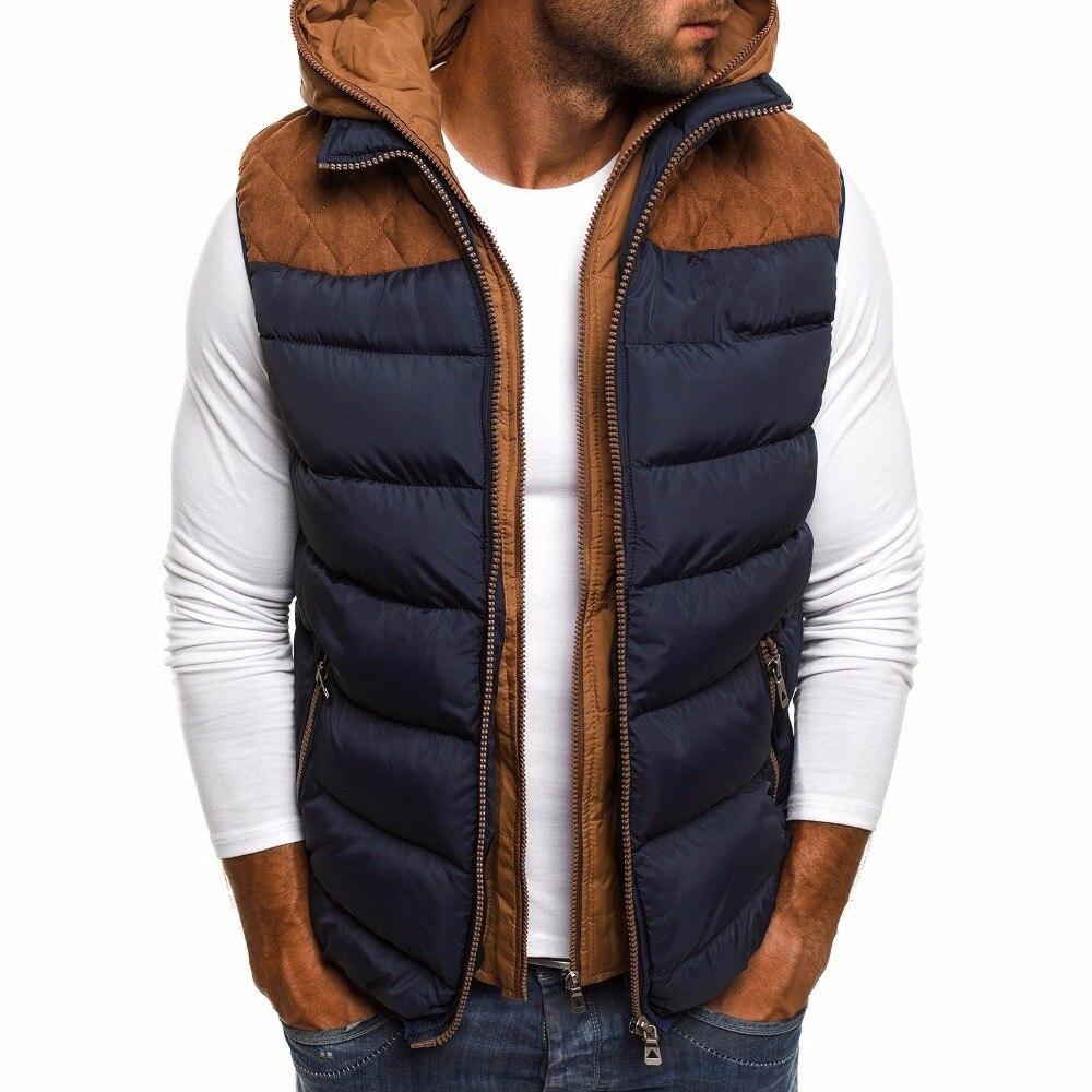 Зимняя мужская одежда, мужские теплые ветрозащитные парки, жилеты, Мужская модная повседневная куртка на молнии без рукавов, куртка с капюш...