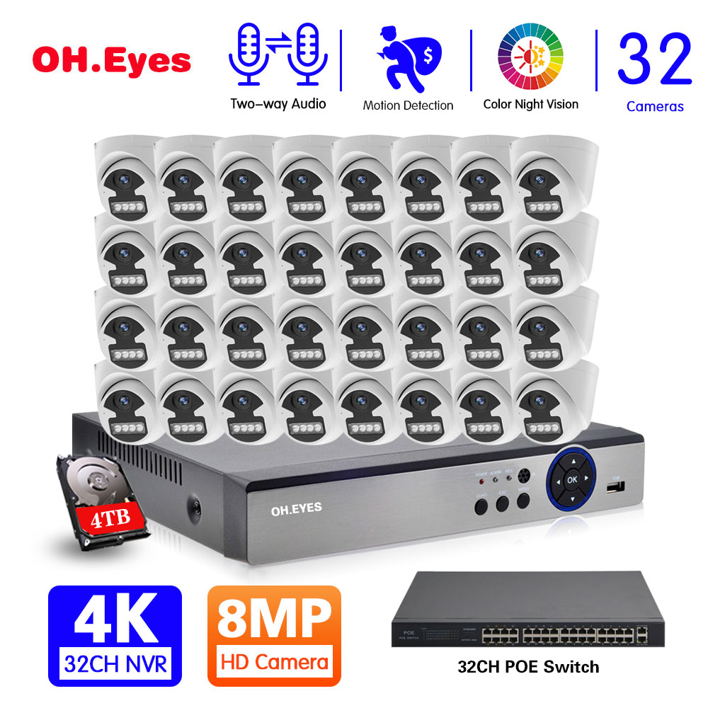 8CH كاميرا تلفزيونات الدوائر المغلقة نظام الأمن عدة POE 5MP طقم NVR في الهواء الطلق اللون للرؤية الليلية IP نظام الكاميرا للمراقبة بالفيديو مجموعة ...