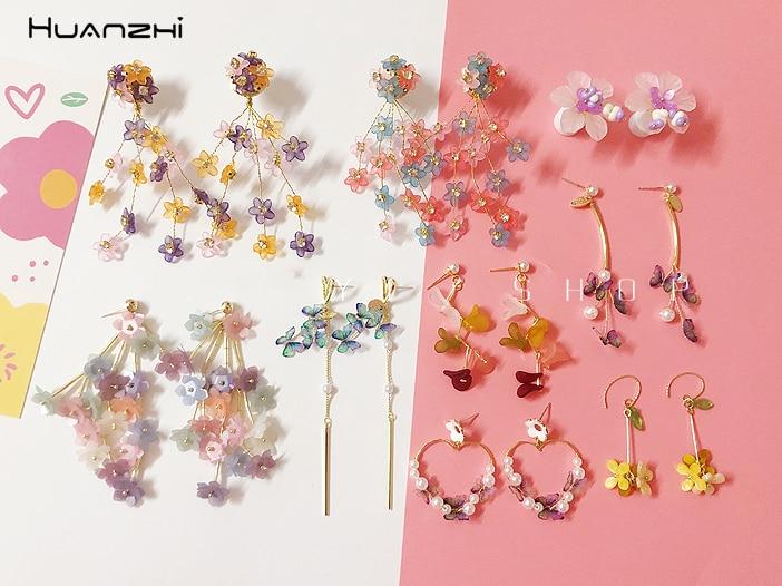 HUANZHI 2020 nouveau S925 Vintage Transparent fleur longgland boucles doreilles goutte couleur raisin fruits boucles doreilles pour femmes filles bijoux