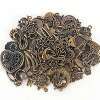 50g mixed beads charms heart pattern metal bead for diy pendants craft bronze silver charms for jewelry making