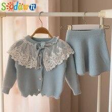 Sodawn bébé fille vêtements ensembles automne mode filles Kint Cardigan + jupe 2 pièces bébé coréen printemps automne enfant enfants vêtements costume