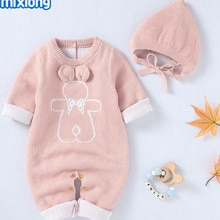 Baby Romper with Hat, Cartoon Bear Print Round Neck Long Sleeve Jumpsuit and Solid Color Hat for Kid