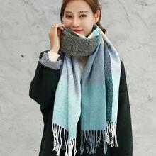 VEITHDIA-écharpe en laine pour femme   Longue écharpe en cachemire, treillis large, couverture de châle pour emmailloter, tirette chaud, automne hiver 2020