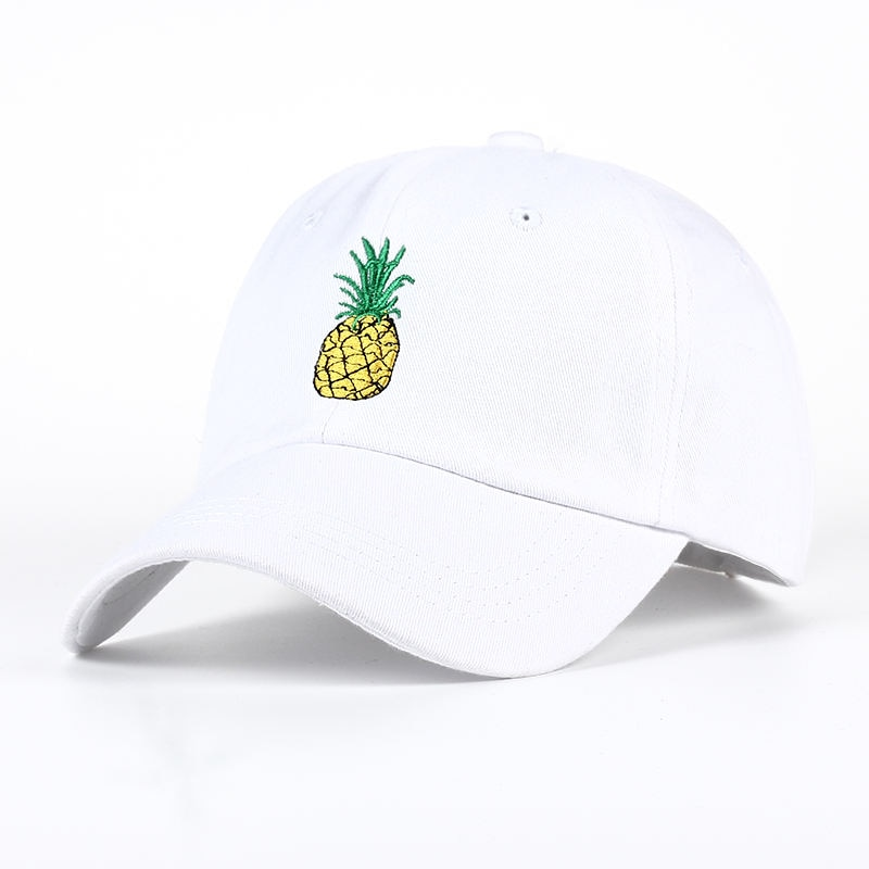 Fashion Style Pineapple Embroidery Baseball Cap Cotton 100% Hipster Hat Fruit Pineapple Dad Hats Hip Hop Cotton Snapback Caps 100% cotton dad hat happy face travis s cott latest album astroworld cap travis embroidery baseball caps 2019 new