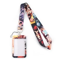 fd0225 anime keychain fashion lanyards id badge holder for student card cover business card with lanyard