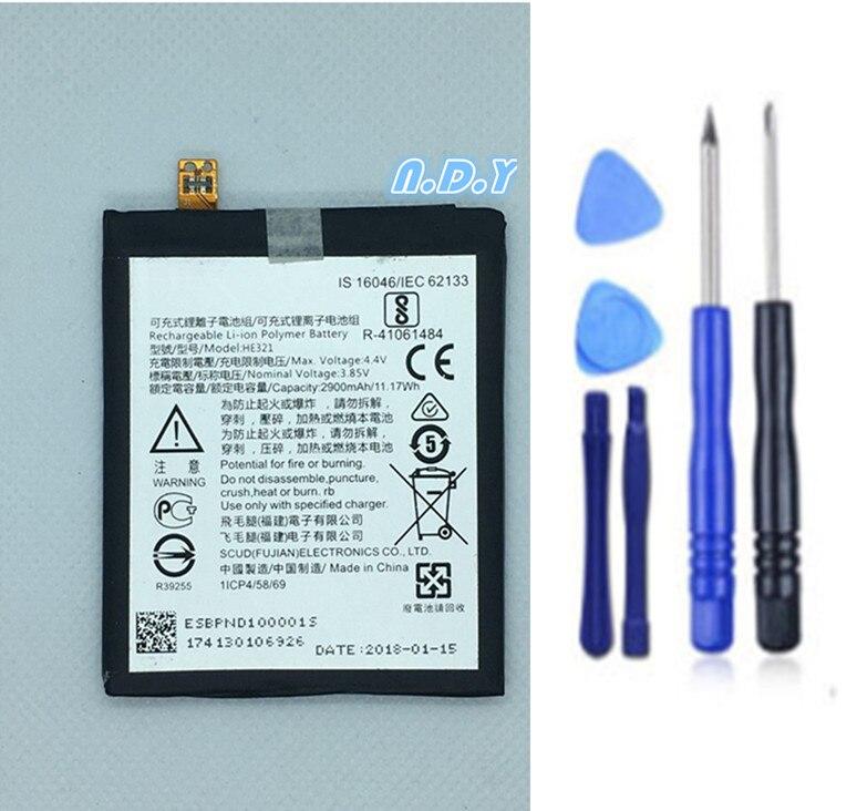 Original  HE321 2900mAh Battery For Nokia 5 Nokia5 Dual SIM (TA-1053 DS) N5 Batteries Bateria + Free Tools