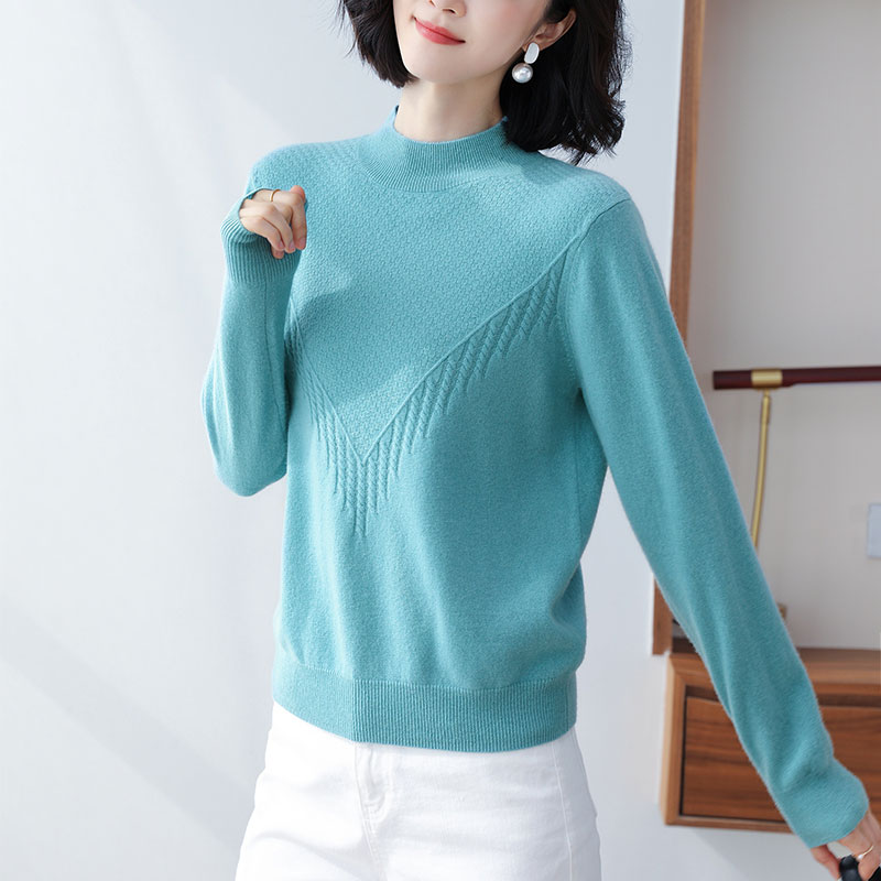 turtleneck cashmere women sweater loose warm jacket autumn winter 2020 all-match clothes wool nice blue suit simple style enlarge