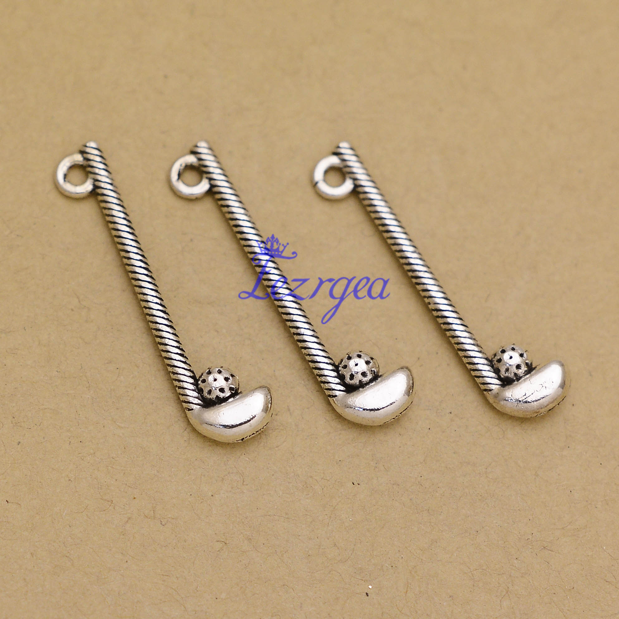 30pcs/lot--32x8mm, Antique silver plated golf club ball charms,DIY supplies,Jewelry accessories