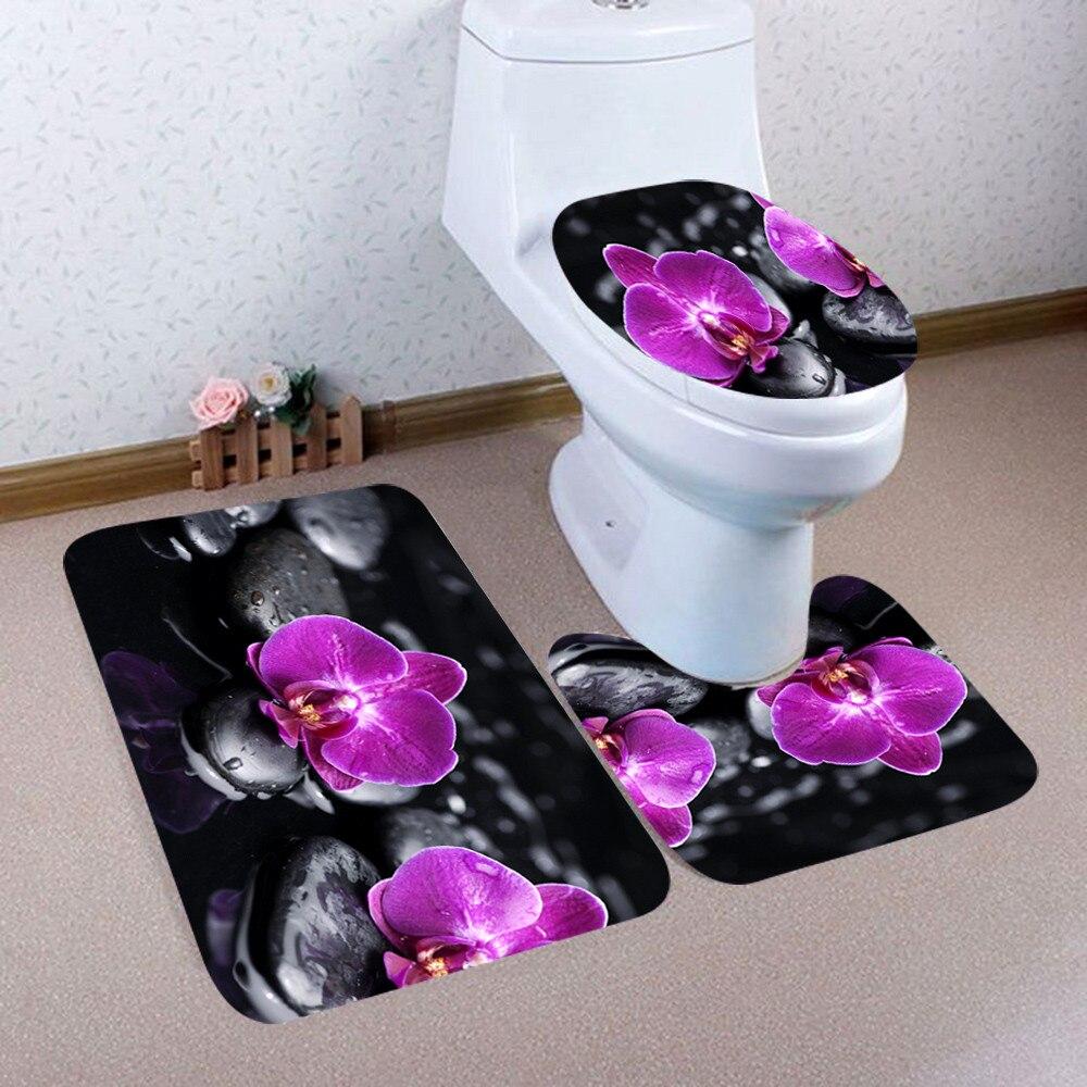 3 pçs impressão criativa banheiro cortina de chuveiro à prova dwaterproof água pedestal tapete tampa do toalete conjunto cortina banho conjunto # t1g