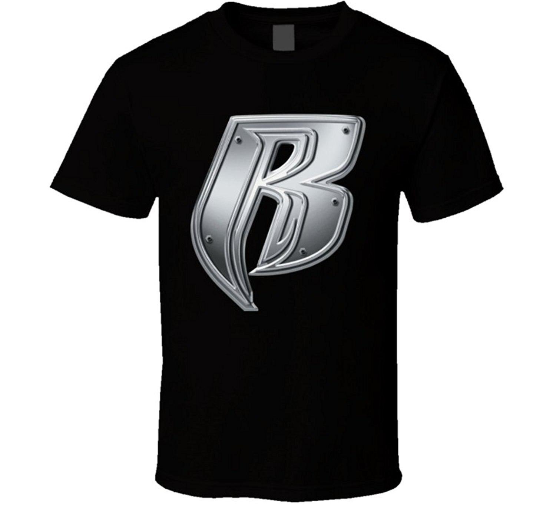 Nuevo Grupo Ruff Ryders Rap de manga corta música de los hombres blanco negro camiseta Simple Hip Hop algodón-camisas