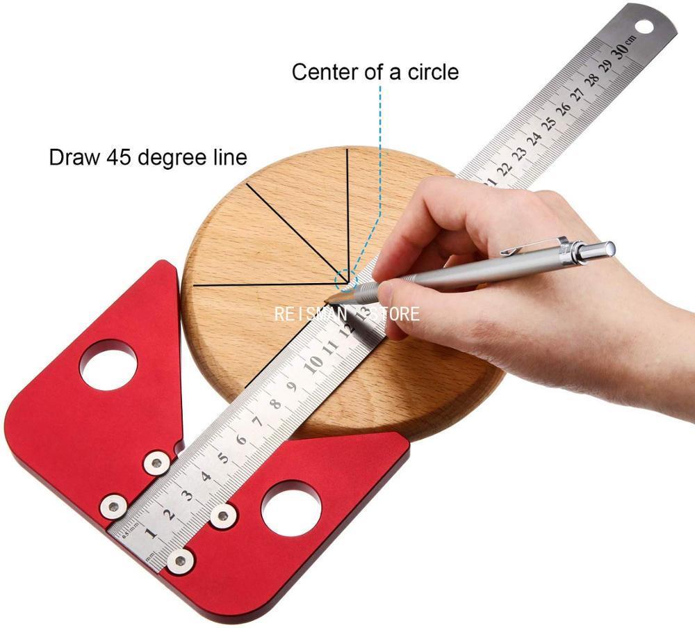 Алюминий легированная квадратная центр писец центр Finder центр Scribe Line калибра центр измерительный с отметкой линейка; Деревообработка Инстр...
