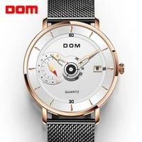 dom new sport mens watches top brand luxury full steel quartz clock waterproof big dial watch men auto male wristwatch m 1299