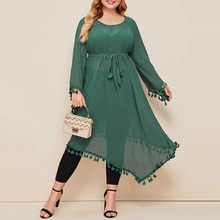 Plus Size Women Dress Flare Long Sleeve Mesh Green Dress 2021 New Fashion Summer Irregular Skirt Plu