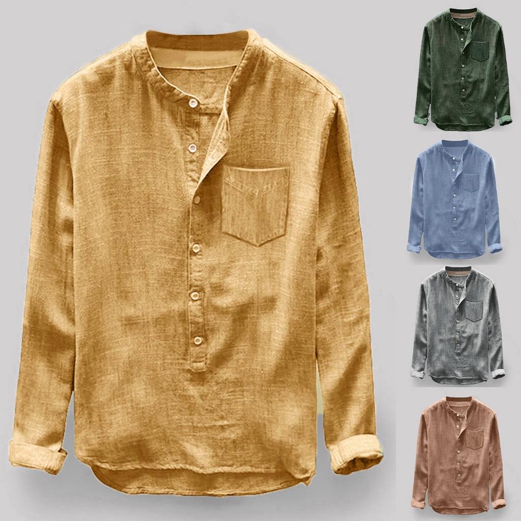 JAYCOSIN, camisa de moda para hombre, Otoño Invierno, botón informal de lino y algodón, blusa de manga larga, camisas casuales para hombres, #45