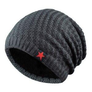Winter Beanies Men's Skullies Hip Hop Unisex Hat Knitted Warm Hat Plus Velvet Bonnet Thicken Cap Star Bonnet Outdoor Beanies