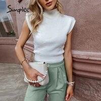 simplee elegant turtleneck women%e2%80%99s sweater vest white office sheath solid female sweater autumn casual knit sleeveless short top