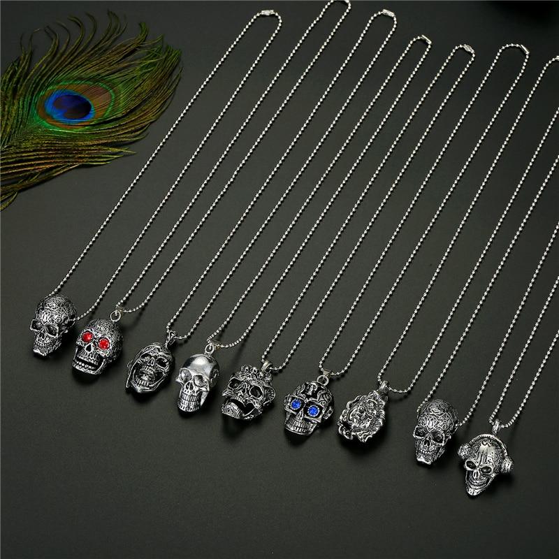 1PC Punk Gothic Red Zircon Eye Skull Pendant Necklace For Men Women Vintage Retro Skeleton Buddha Bead Necklace Mens Jewelry N92
