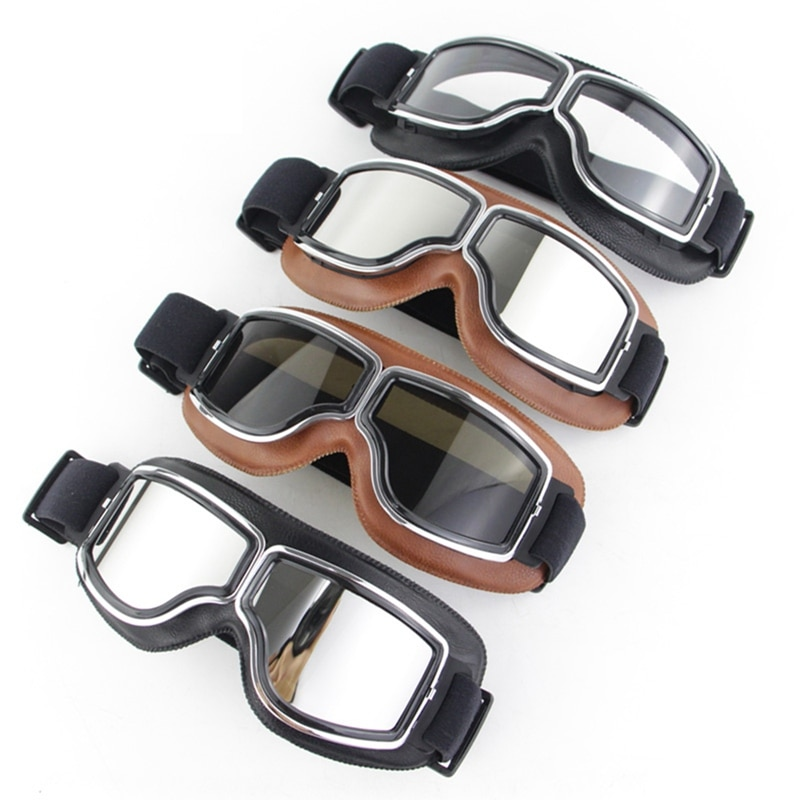 Vintage Motorcycle Glasses Goggles Retro Windproof Motorbike Glasses Outdoor Off-road Riding Goggles Scooter Driving Glasses motorcycle atv riding scooter driving flying protective frame clear lens portable vintage helmet goggles glasses for 2009 buell xb12r