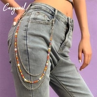 cosysail bohemian beaded three layer belt key chain for women punk waist pants chain jeans long metal belt accessories 2021