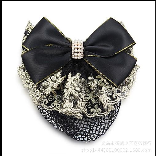 High-end Korean bow hair net bag hair accessory stewardess bank nurse hotel professional head flower lace ribbon handmade FS029
