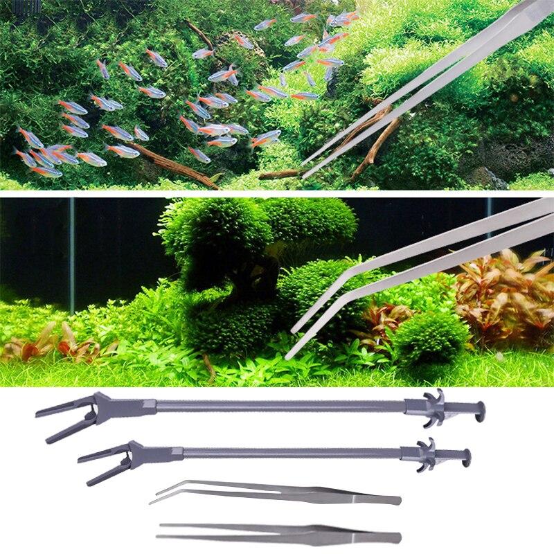 27 cm/37 cm/48 cm/50 cm/70 cm Aquarium Live Planta Tanque Curva Em Linha Reta pinças Pinças Longo Planta do Camarão Reef Pinça de Aço Inoxidável