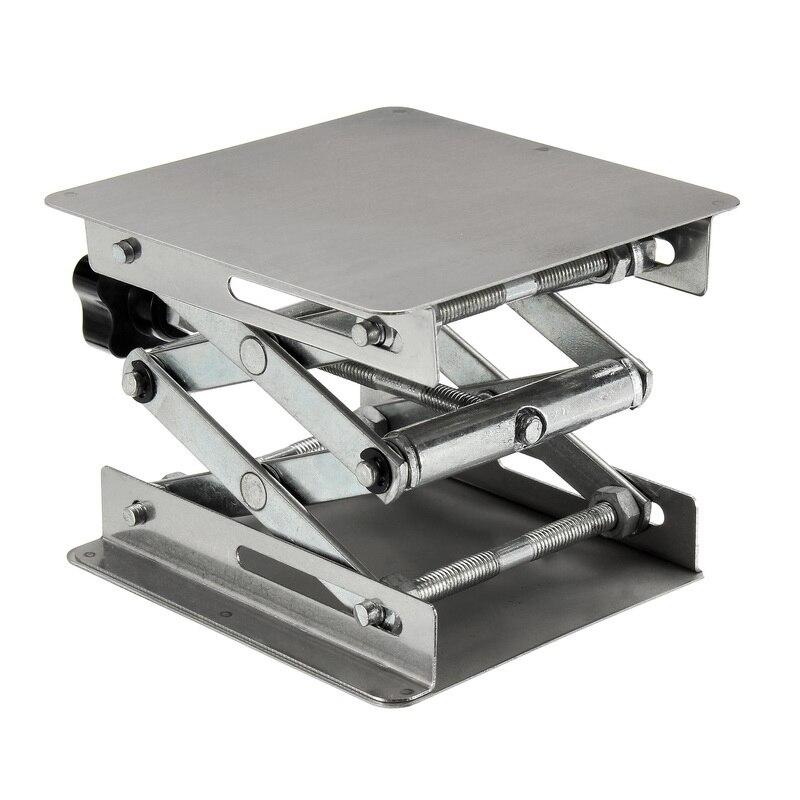 Estante de mesa ajustable de acero inoxidable para laboratorio, elevador de tijera para laboratorio para pruebas de ciencia, bancos de carpintería 100X100X160m