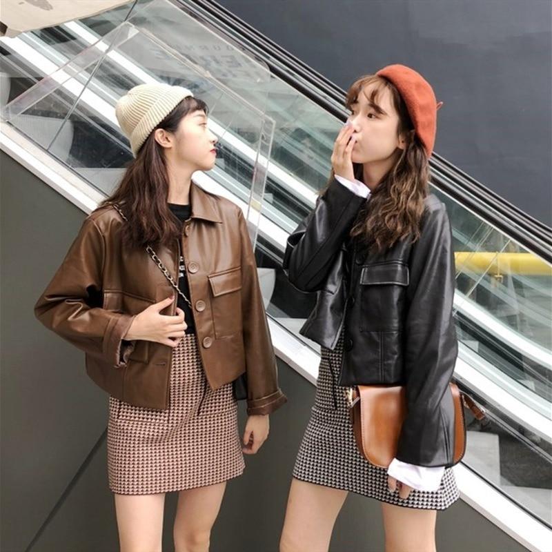 Fmfssom novo 2020 outono inverno feminino casual bolsos de couro oversize jaquetas outerwear couro falso selvagem curto topos
