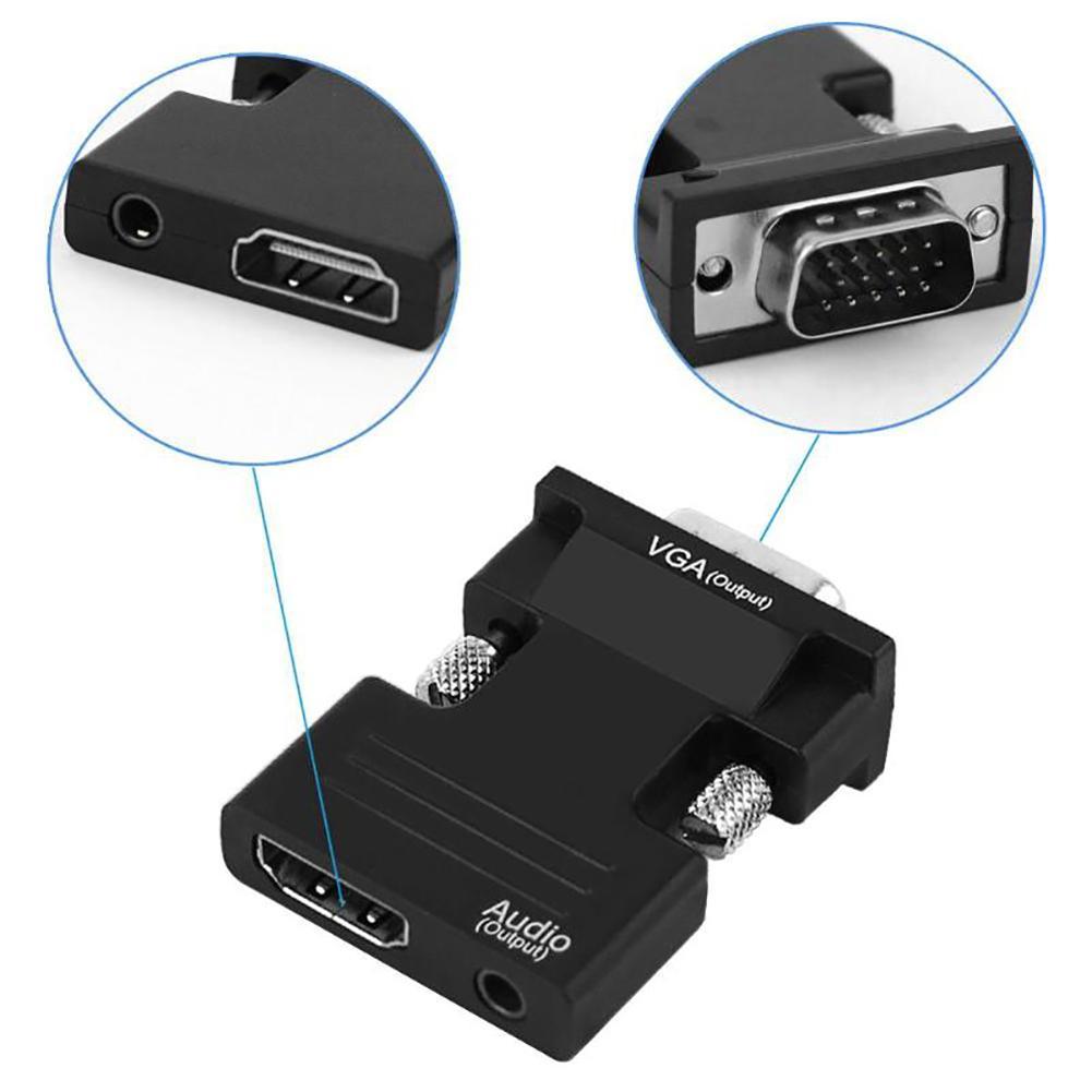 Adaptador convertidor de Cable Adaptador convertidor DOONJIEY 1080P HDMI hembra a VGA macho con Cable de salida de Audio