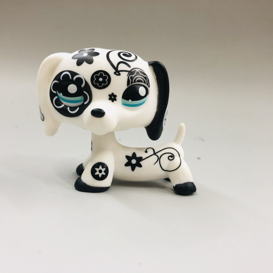 new 5cm Original Black and white FLOWER dog with long ears cute toys Lovely Pet animal figure littlest doll gift girl toy
