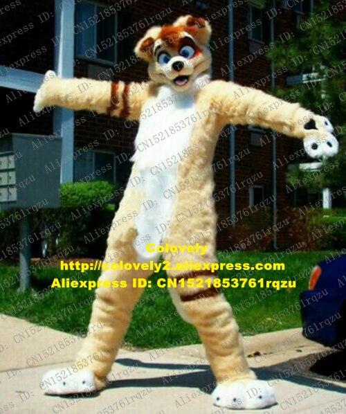 Disfraz de Mascota de perro Husky de lobo peludo de piel larga de color caqui Fursuit adulto de dibujos animados de actuación turística zz7663