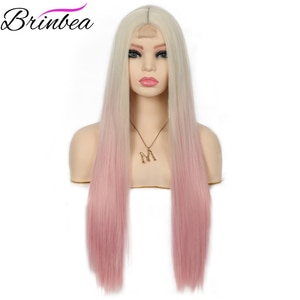 Brinbea 28 Inches Straight Fake Scalp Synthetic Handmake Wigs Natural Middle Part Long Wig Heat Resistant Fiber  for Women