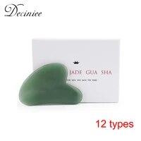 natural rose quartz jade gua sha stone board face massager tools gua sha scraper plate massage therapy for face neck body neck
