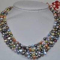 wholesale 5 strands 67 8mm multicolor freshwater pearl necklace