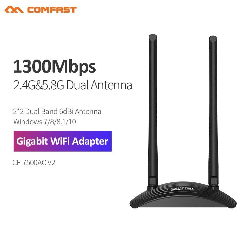 Gigabit Adaptador WiFi inalámbrico 5G de alta potencia antena Dual wifi 6dB...
