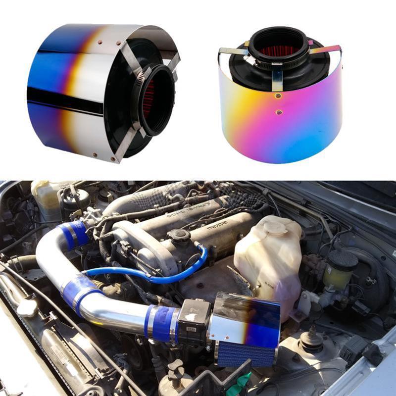 Cubierta del filtro de entrada de aire protector de calor para el filtro del coche de carreras accesorios de entrada de aire del coche de aleación Universal para accesorios del coche