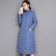 Zimowy długi ultralekki płaszcz damski Plus rozmiar 3XL kurtka jesień przenośny Parkas żeński płaszcz Slim cienki Casual trwały płaszcz