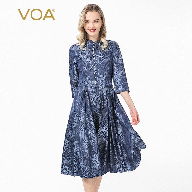 VOA 23 Mimi seda índigo leopardo patrón teñido jacquard stand collar perla de cinco puntos manga plisada gran swing vestido A29