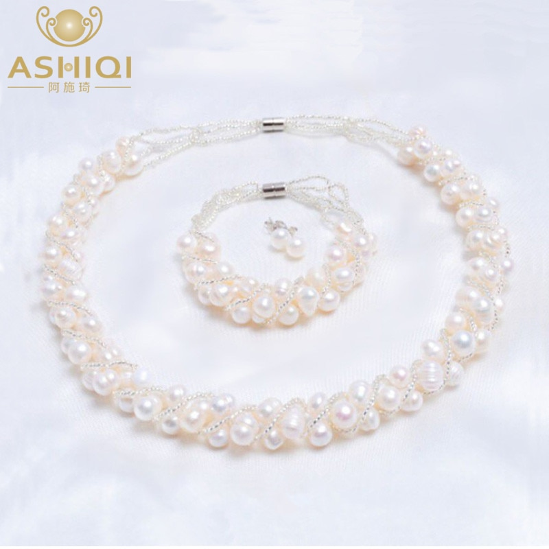 ASHIQI Real Natural Freshwater Pearl Handmade Jewelry Sets & More Necklace Bracelet 925 Silver Earrings for Women Wedding Gift natural freshwater exquisite pearl bracelet women jewelry white pearl charms bracelet 925 silver jewelry wedding gift