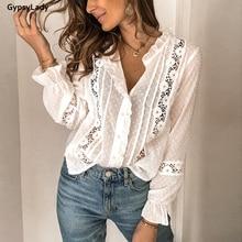 GypsyLady Weiß Vintage Bluse Shirt Sommer Floral Casual Chic Blusen Tops Langarm Aushöhlen Sheer Sexy Frauen Bluse Hemd