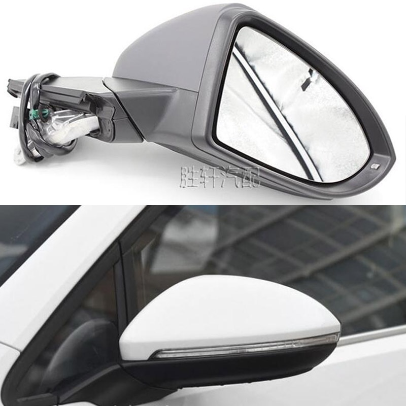 For VW GOLF MK7 Golf 7 2013-2017  modelsLeft Right Power Heated Fold Turn Signal 6  Wires Side Mirror Assembly Courtesy Lights