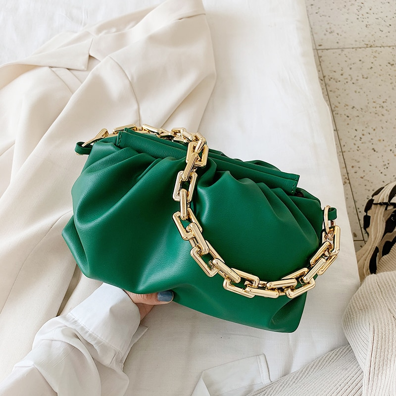 Gold Chain PU Leather Bag For Women 2021 Summer Armpit Bag Lady Shoulder Handbags Female Solid Color Travel Hand Bag