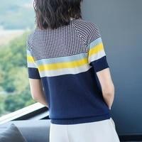 summer new thousand bird color contrast ice silk t shirt for women