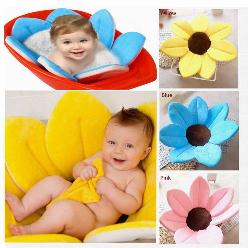 NonSlip Baby Shower Bath Tub Flower Pad Newborn Bathtub Foldable Lotus shape Cushion Portable Bath Tub Soft Seat